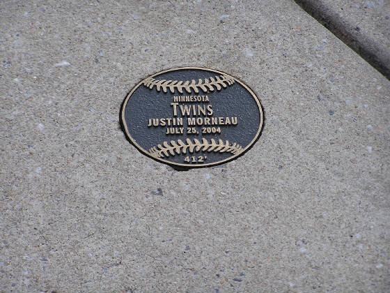 Marks on Eutaw St where Home Runs have Landed